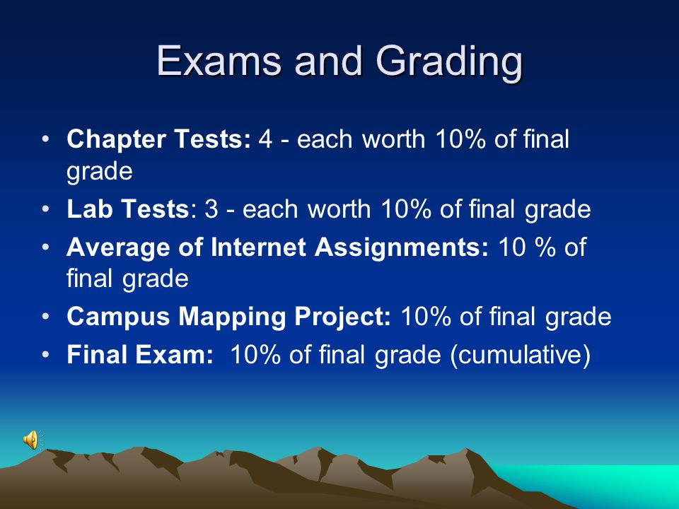 Exams and Grading Chapter Tests: 4 - each worth 10% of final grade