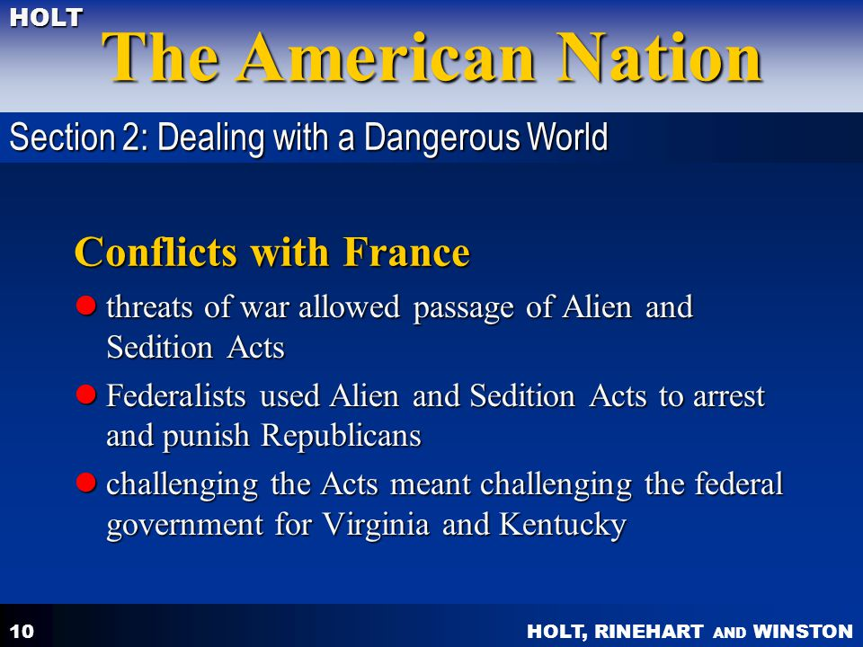 Conflicts with France Section 2: Dealing with a Dangerous World