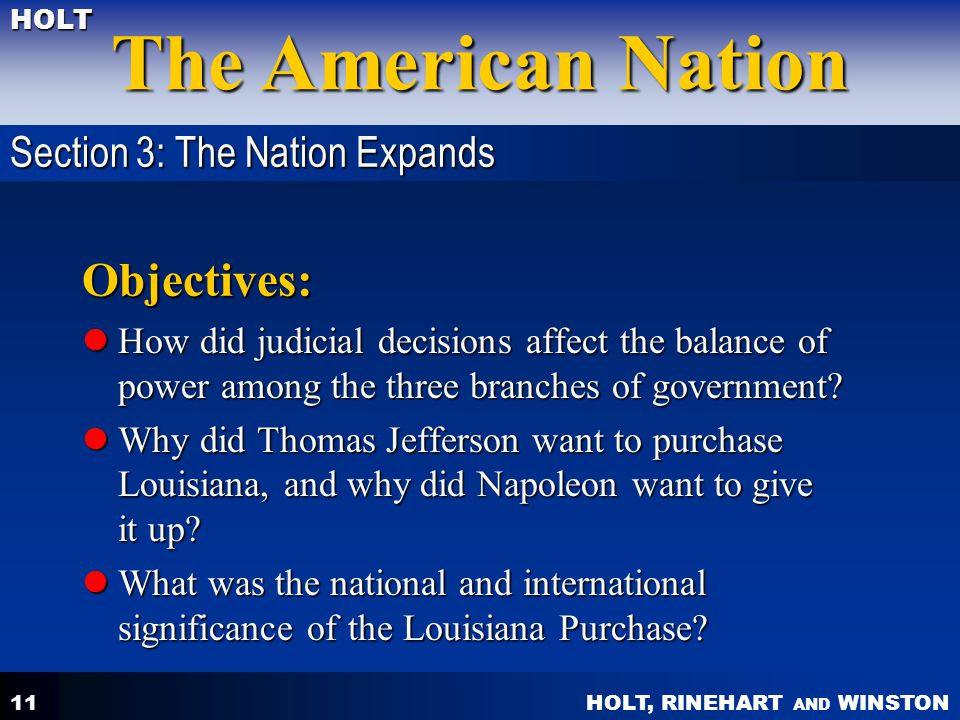 Objectives: Section 3: The Nation Expands