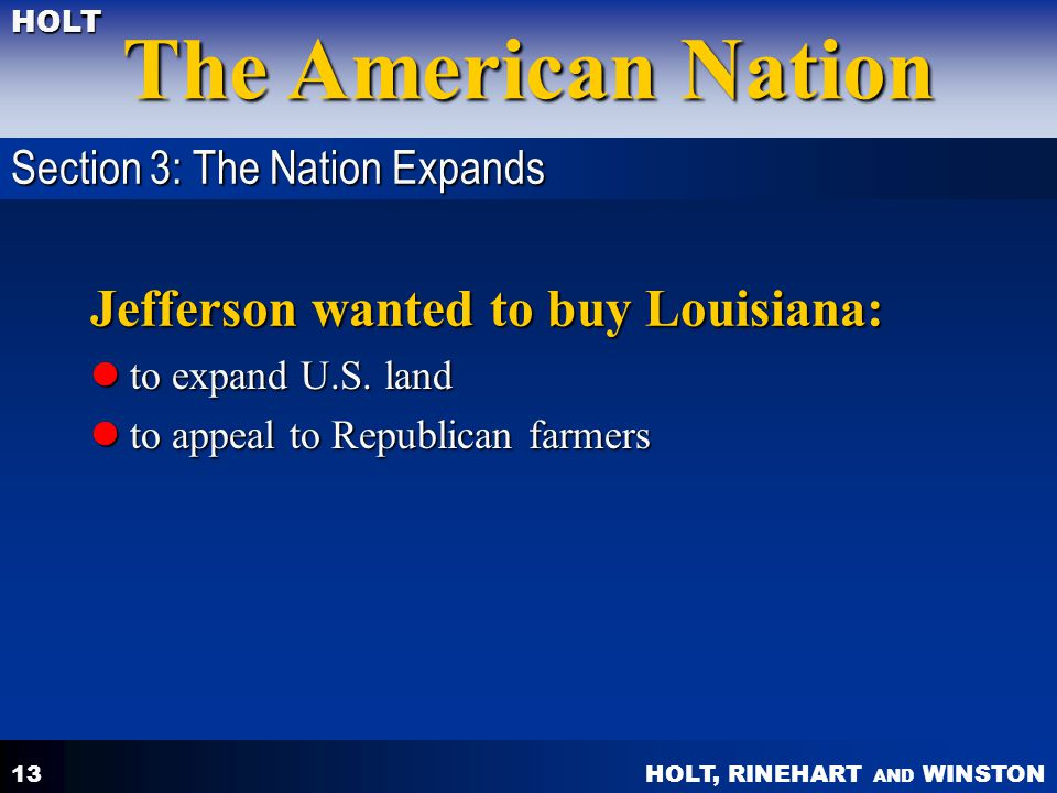 Jefferson wanted to buy Louisiana:
