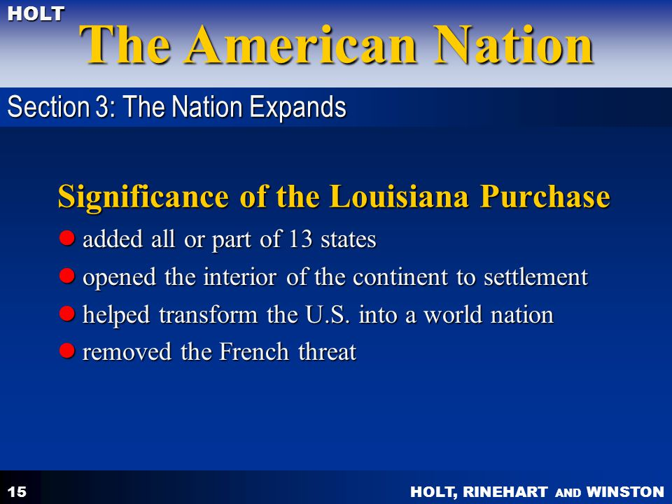 Significance of the Louisiana Purchase