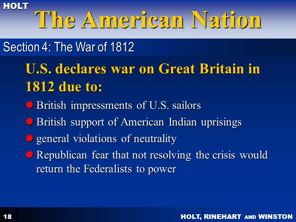 U.S. declares war on Great Britain in 1812 due to: