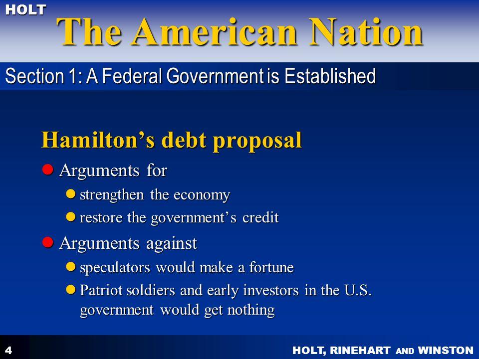 Hamilton's debt proposal