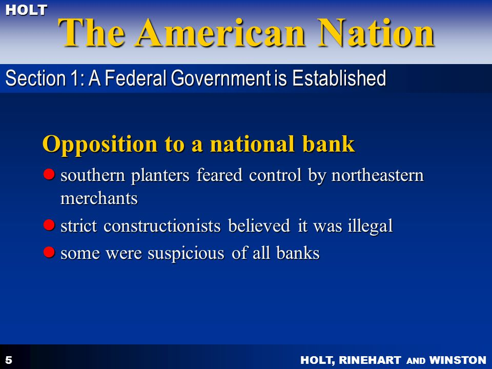 Opposition to a national bank