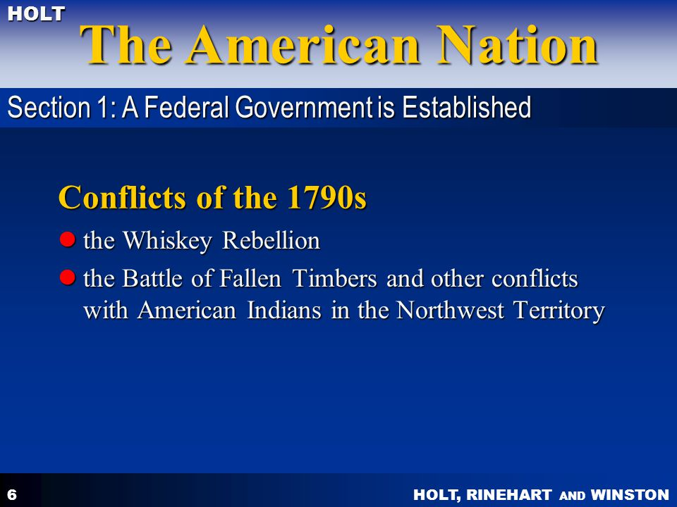 Conflicts of the 1790s Section 1: A Federal Government is Established
