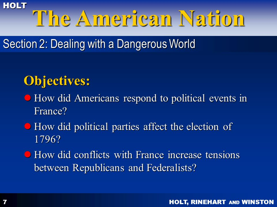 Objectives: Section 2: Dealing with a Dangerous World