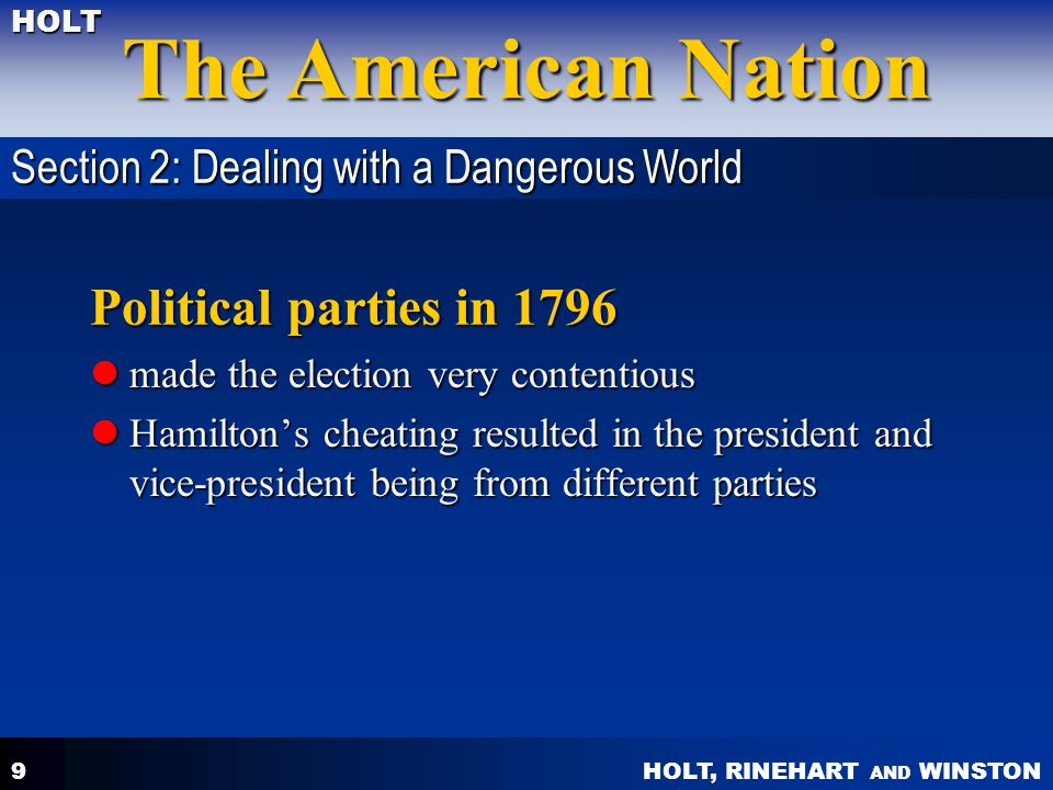 Political parties in 1796 Section 2: Dealing with a Dangerous World