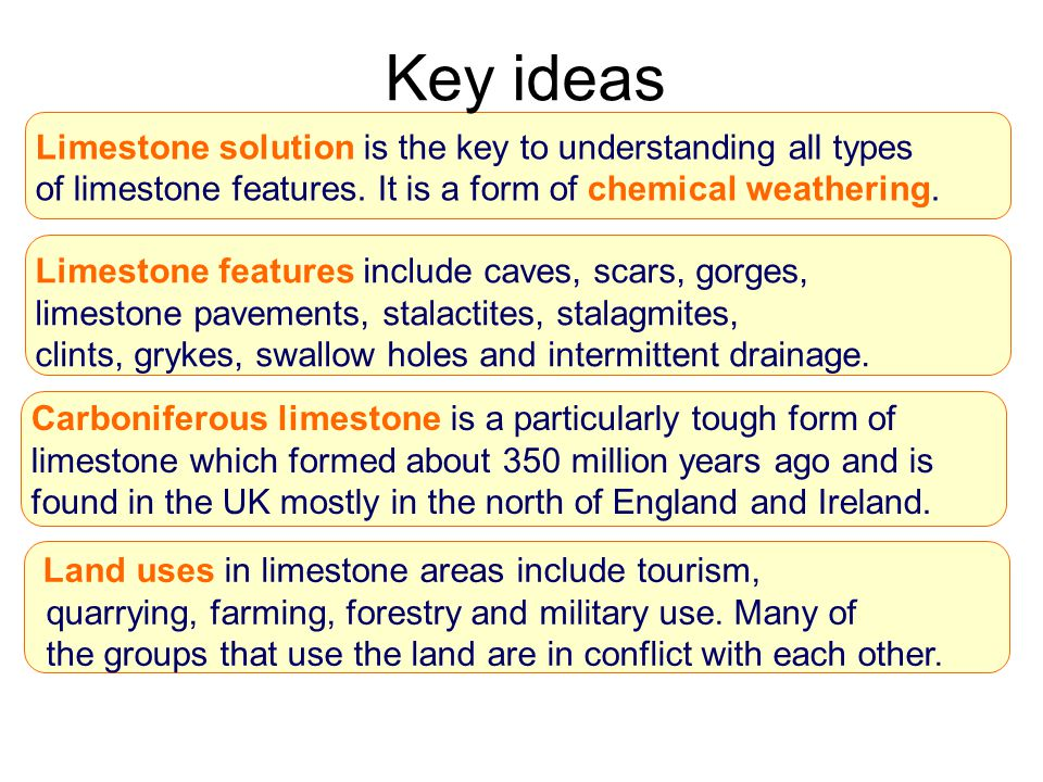 Key ideas Limestone solution is the key to understanding all types of limestone features. It is a form of chemical weathering.