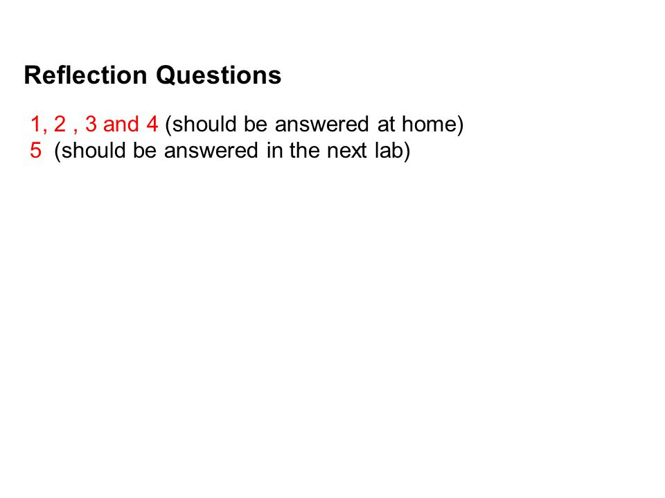 Reflection Questions 1, 2 , 3 and 4 (should be answered at home)