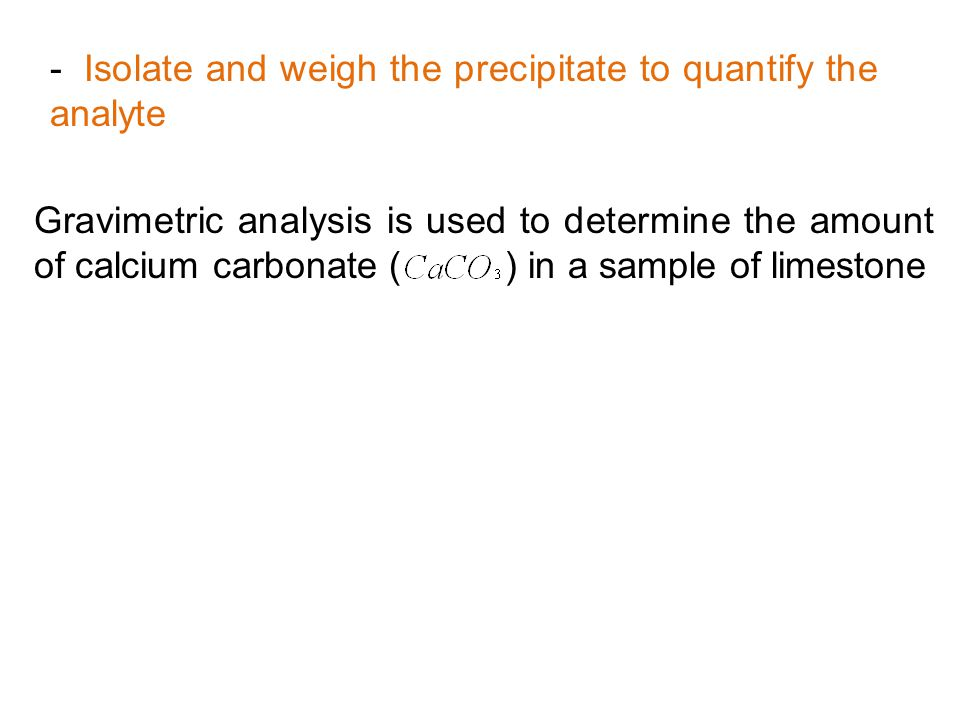Isolate and weigh the precipitate to quantify the analyte
