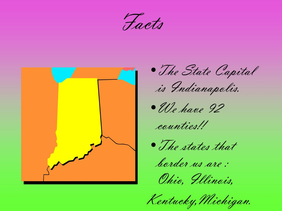 Facts The State Capital is Indianapolis. We have 92 counties!!