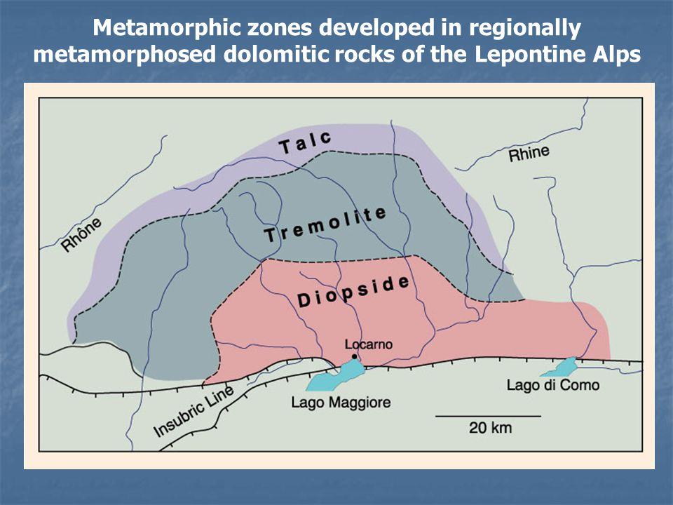 Metamorphic zones developed in regionally metamorphosed dolomitic rocks of the Lepontine Alps