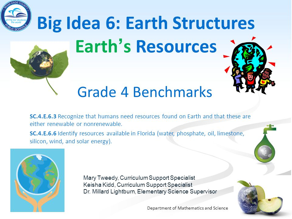 Big Idea 6: Earth Structures Earth's Resources