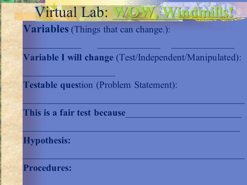 Virtual Lab: WOW, Windmills!