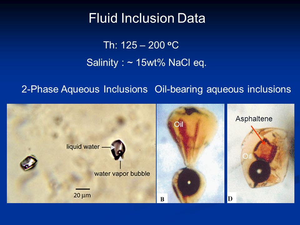 Fluid Inclusion Data Th: 125 – 200 oC Salinity : ~ 15wt% NaCl eq.