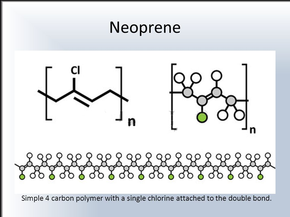 Neoprene Pic=http://www.123rf.com/photo_24396744_neoprene-polychloroprene-synthetic-rubber-chemical-structure-multiple-representations.html.