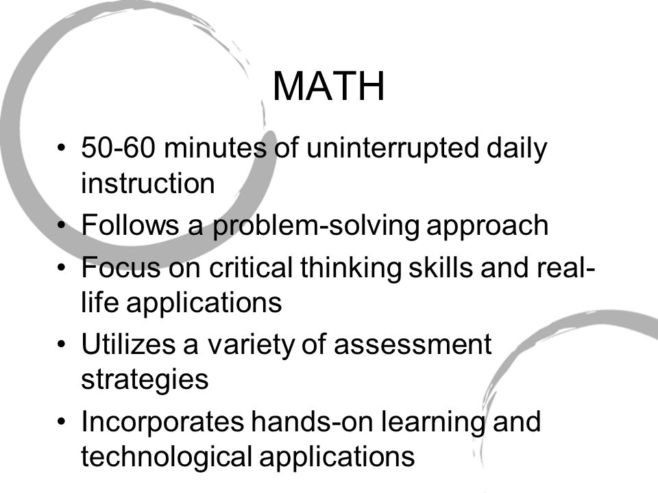 MATH 50-60 minutes of uninterrupted daily instruction