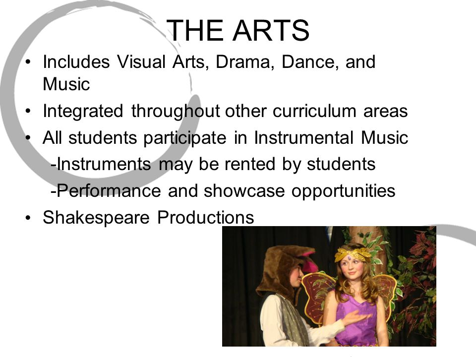 THE ARTS Includes Visual Arts, Drama, Dance, and Music