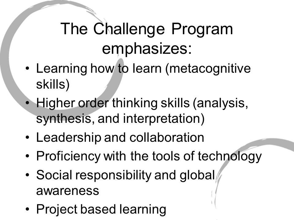 The Challenge Program emphasizes: