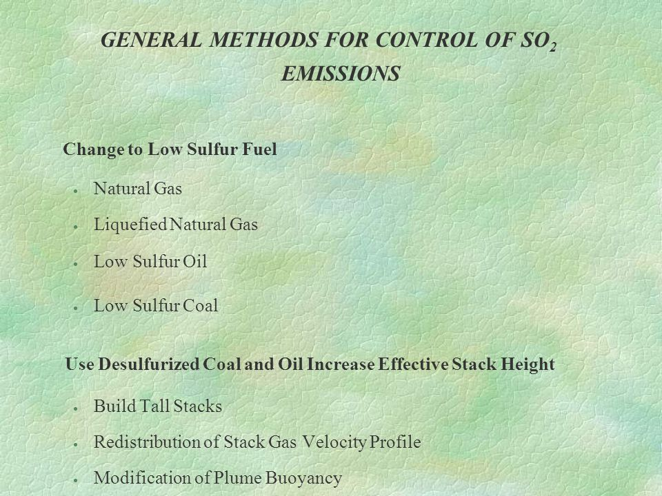 GENERAL METHODS FOR CONTROL OF SO2 EMISSIONS