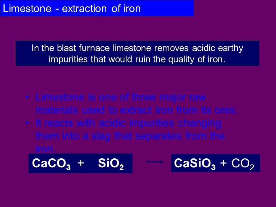 Limestone - extraction of iron