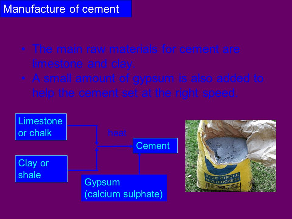 The main raw materials for cement are limestone and clay.