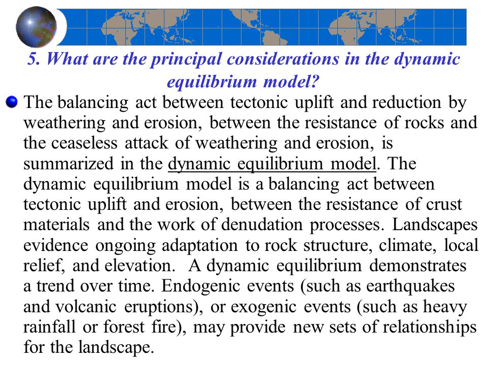 5. What are the principal considerations in the dynamic equilibrium model