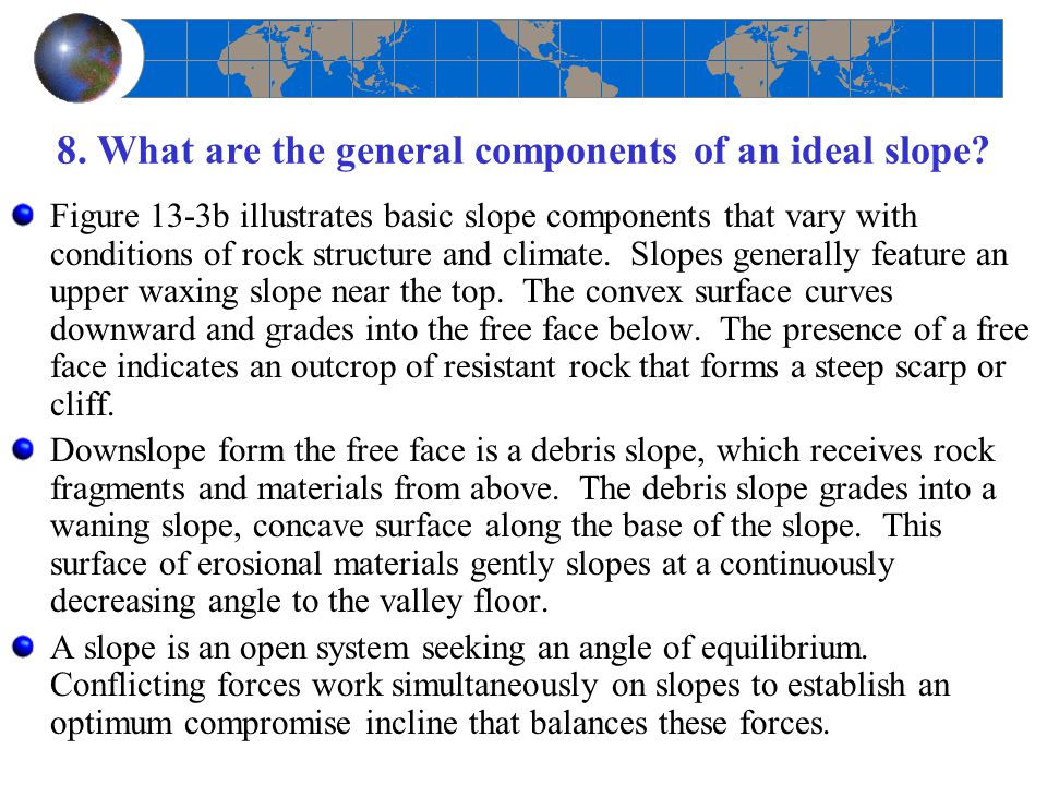 8. What are the general components of an ideal slope