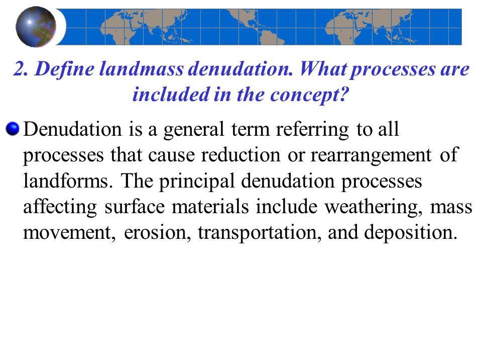 2. Define landmass denudation