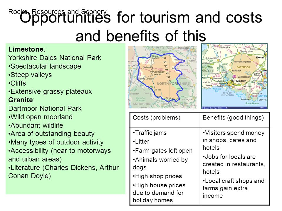 Opportunities for tourism and costs and benefits of this