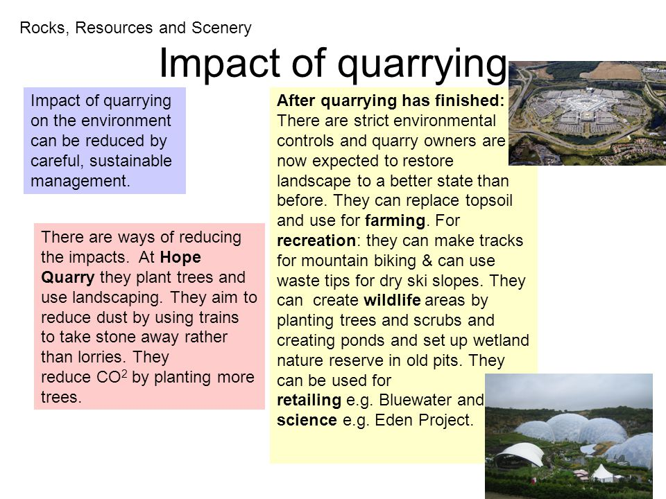 Impact of quarrying Rocks, Resources and Scenery