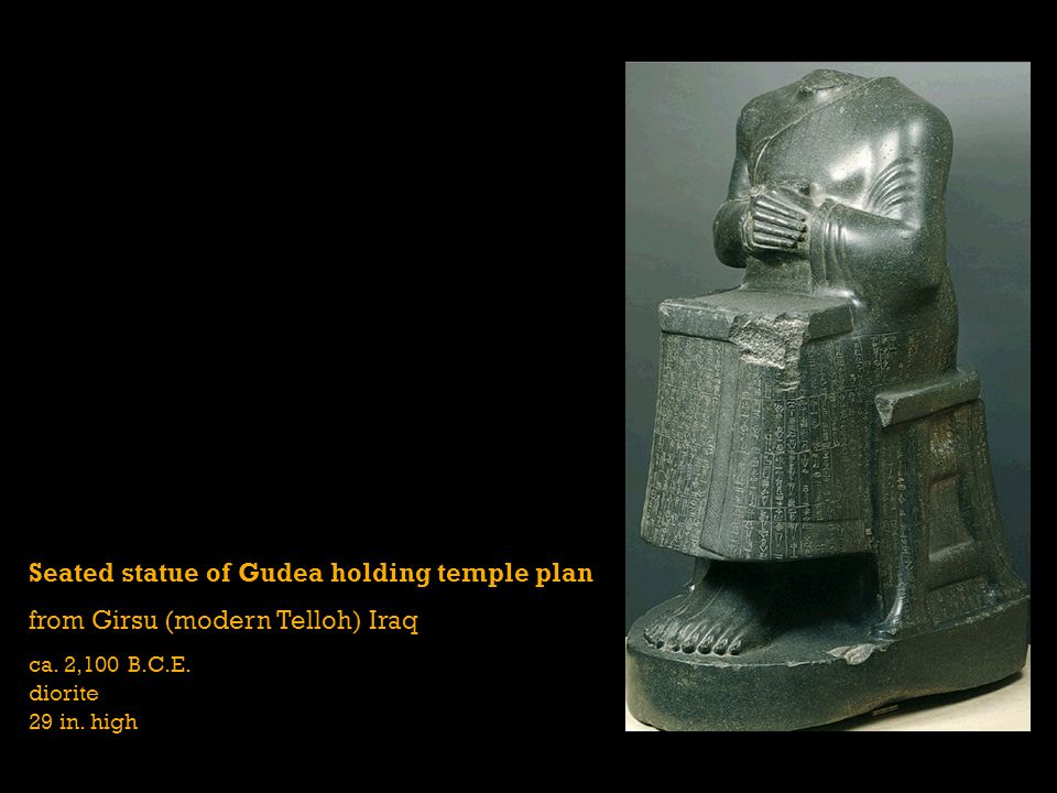 Seated statue of Gudea holding temple plan