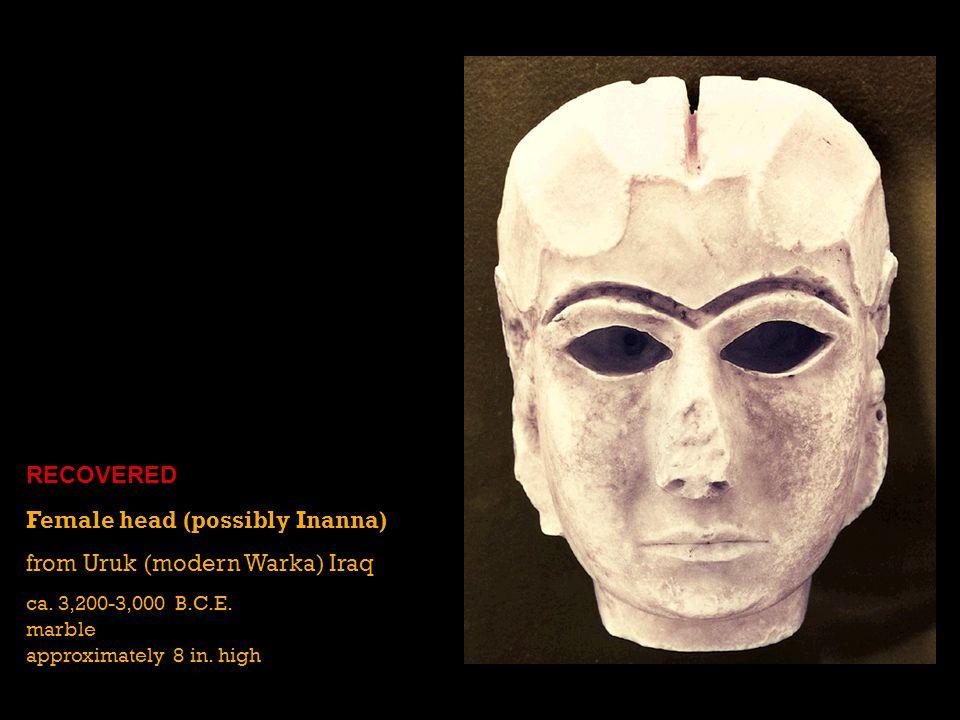 Female head (possibly Inanna) from Uruk (modern Warka) Iraq