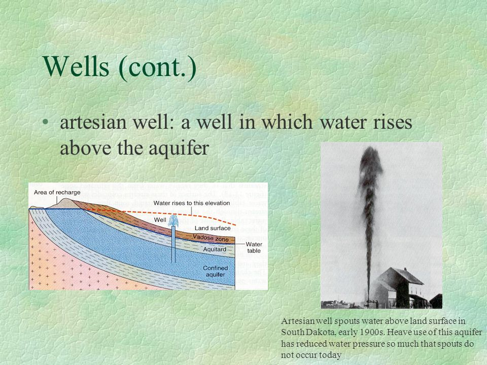 Wells (cont.) artesian well: a well in which water rises above the aquifer. Artesian well spouts water above land surface in.