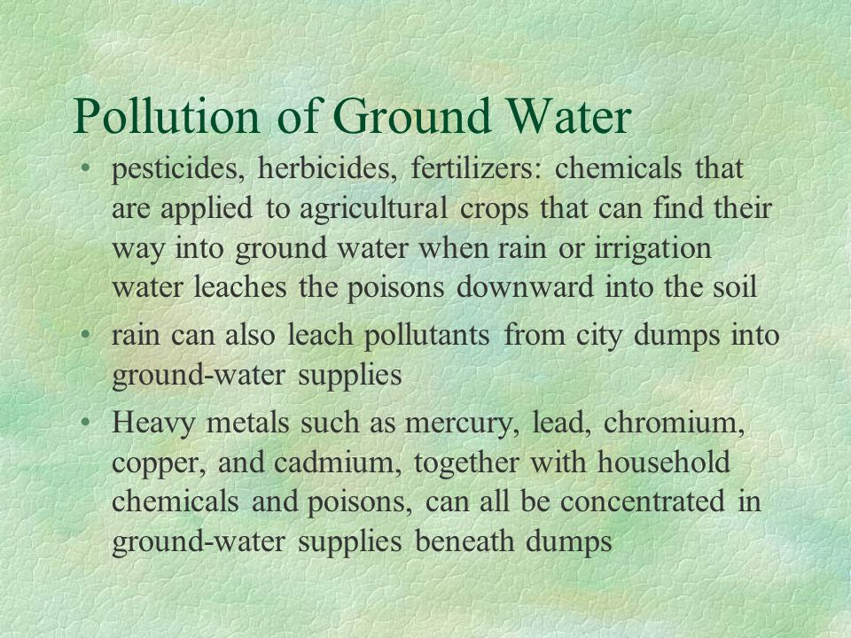 Pollution of Ground Water