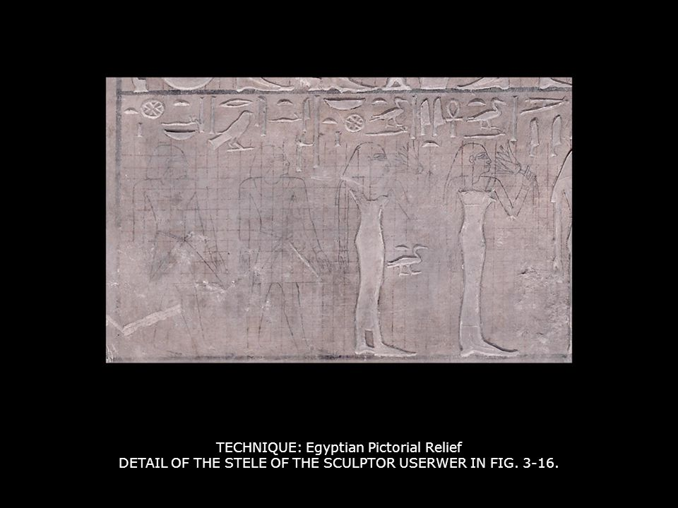 TECHNIQUE: Egyptian Pictorial Relief DETAIL OF THE STELE OF THE SCULPTOR USERWER IN FIG. 3-16.