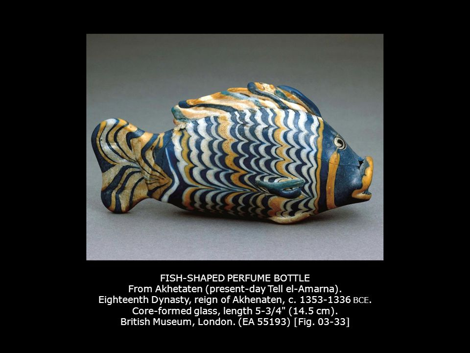 FISH-SHAPED PERFUME BOTTLE From Akhetaten (present-day Tell el-Amarna)