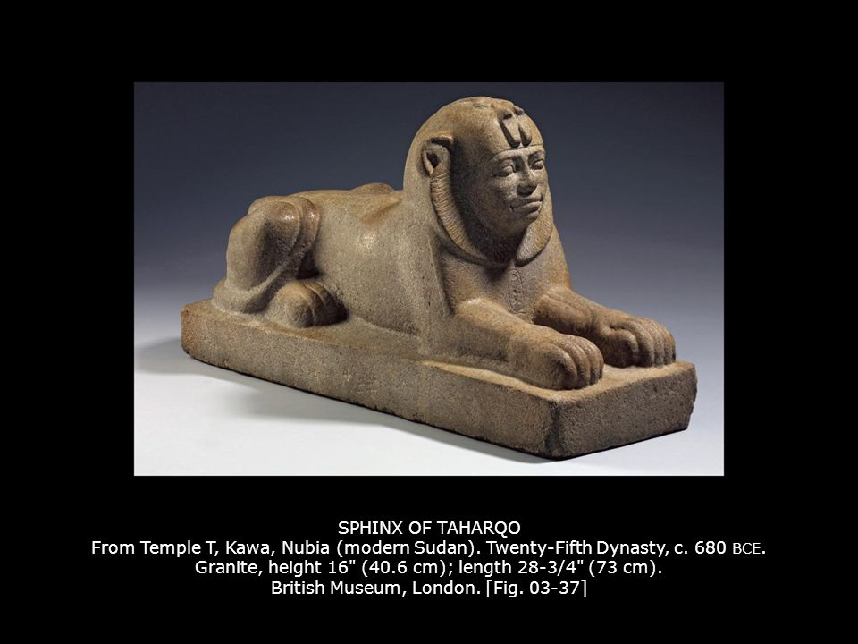 SPHINX OF TAHARQO From Temple T, Kawa, Nubia (modern Sudan)