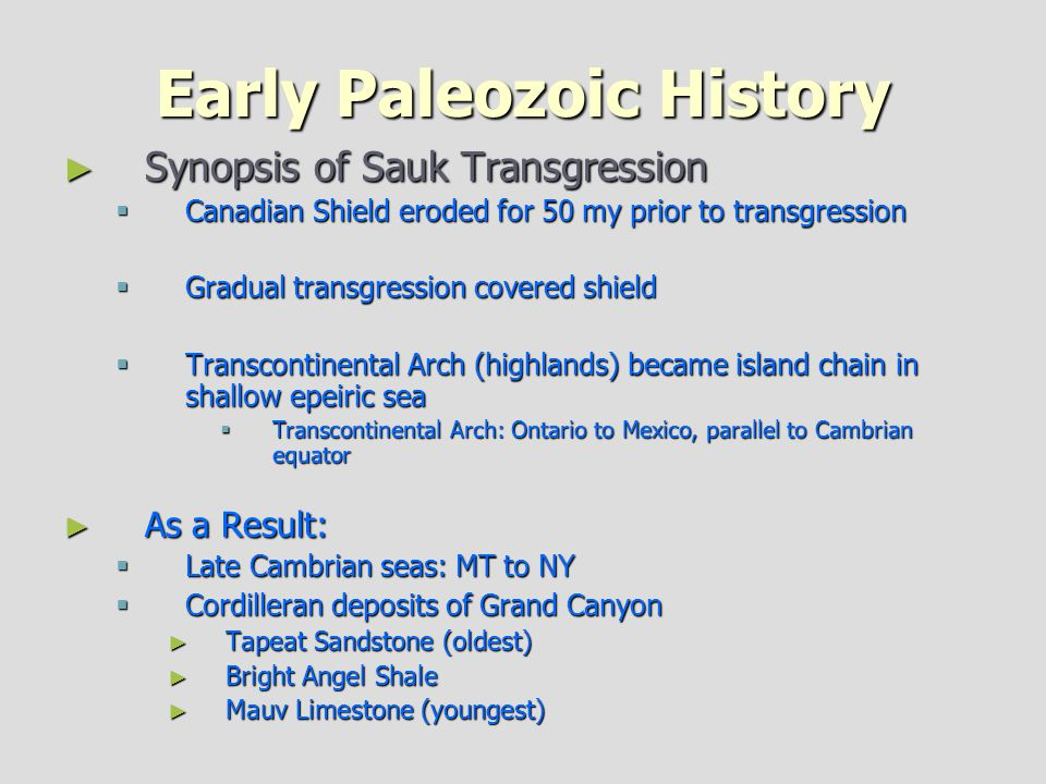 Early Paleozoic History
