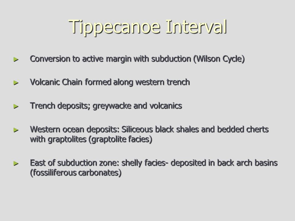 Tippecanoe Interval Conversion to active margin with subduction (Wilson Cycle) Volcanic Chain formed along western trench.