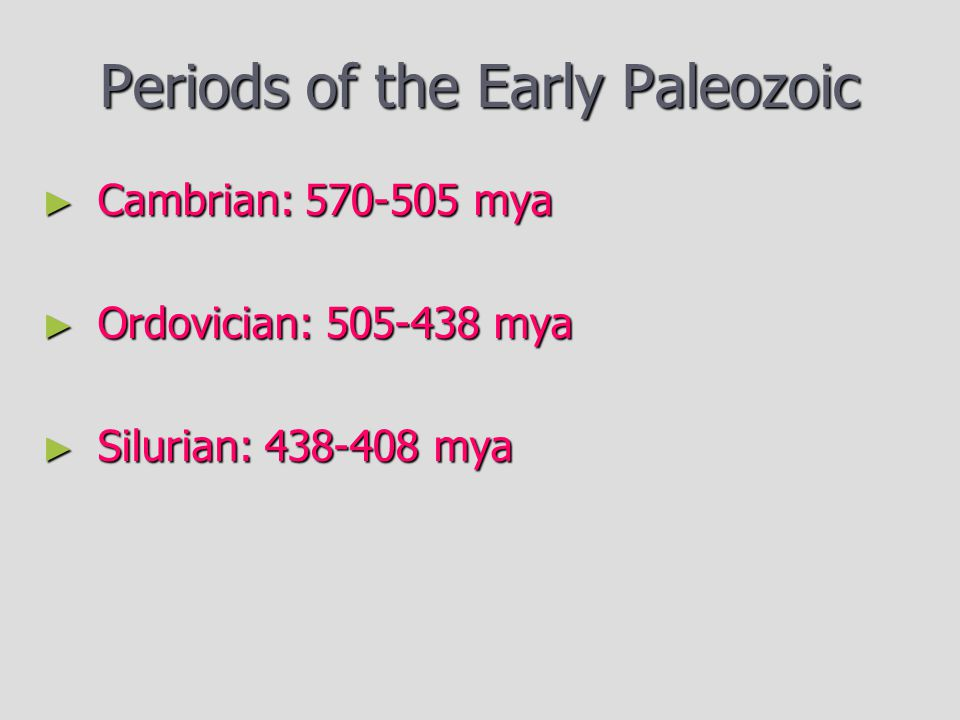 Periods of the Early Paleozoic