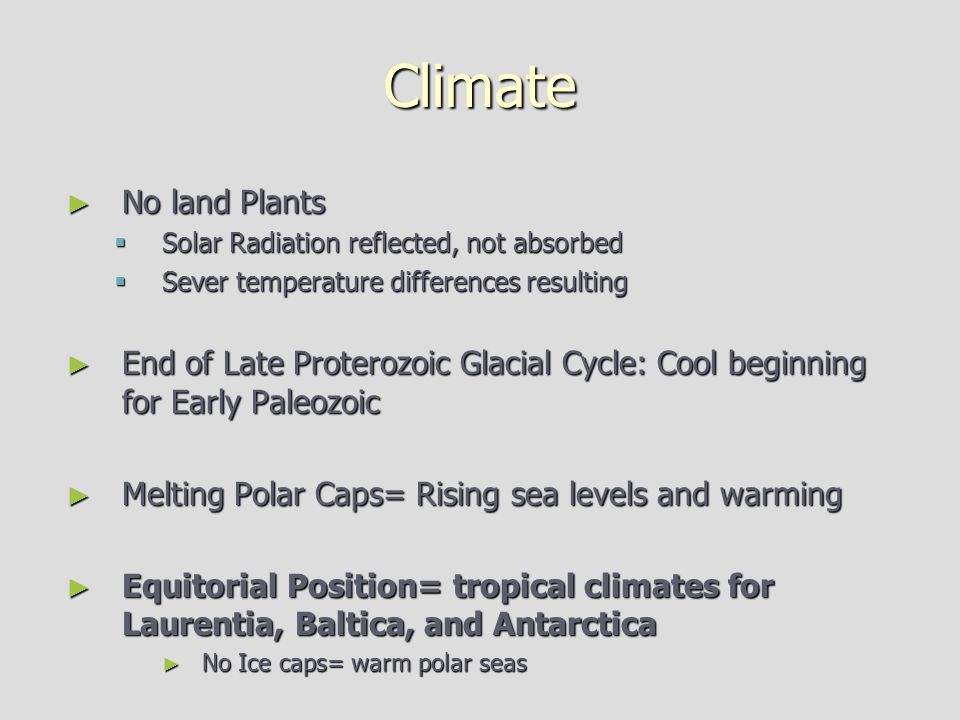 Climate No land Plants. Solar Radiation reflected, not absorbed. Sever temperature differences resulting.