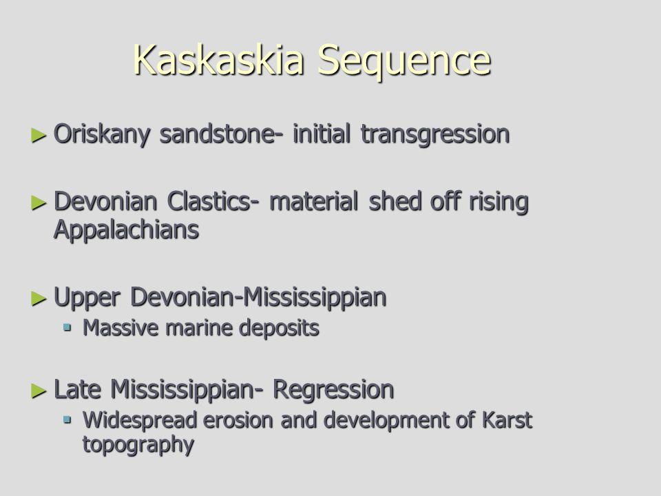 Kaskaskia Sequence Oriskany sandstone- initial transgression