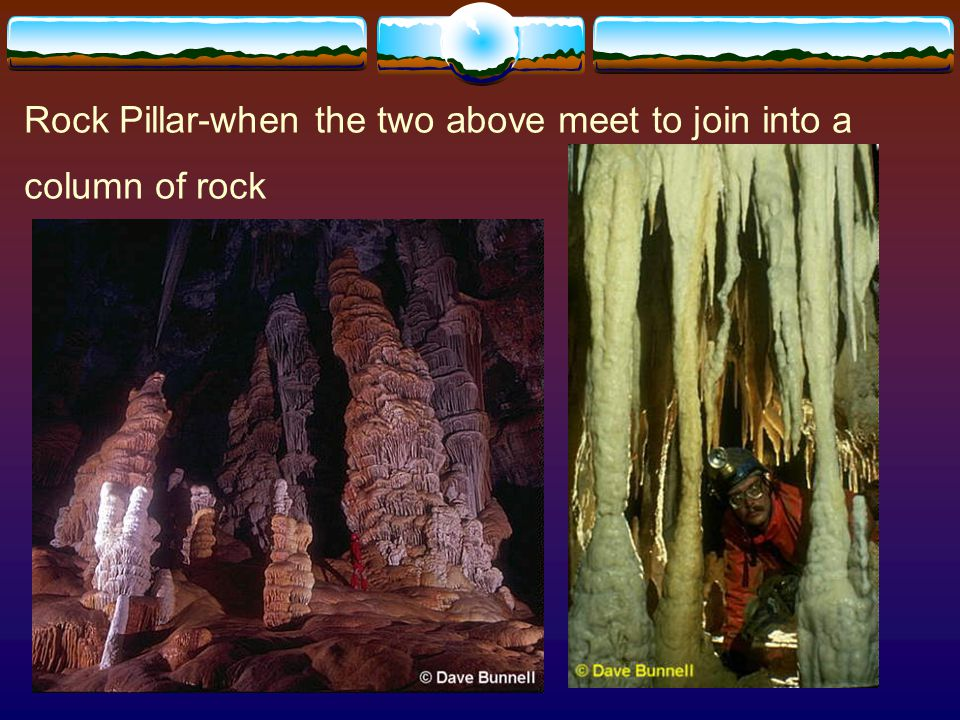 Rock Pillar-when the two above meet to join into a column of rock