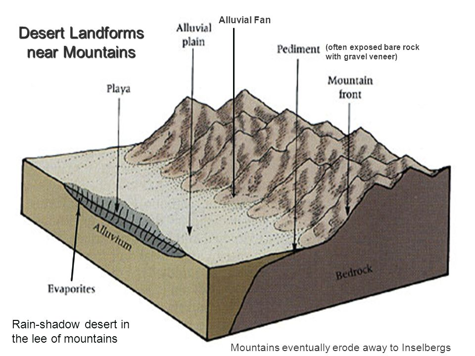 Desert Landforms near Mountains