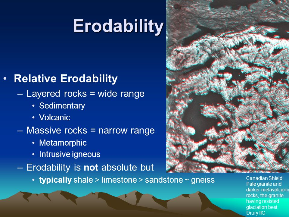 Erodability Relative Erodability Layered rocks = wide range