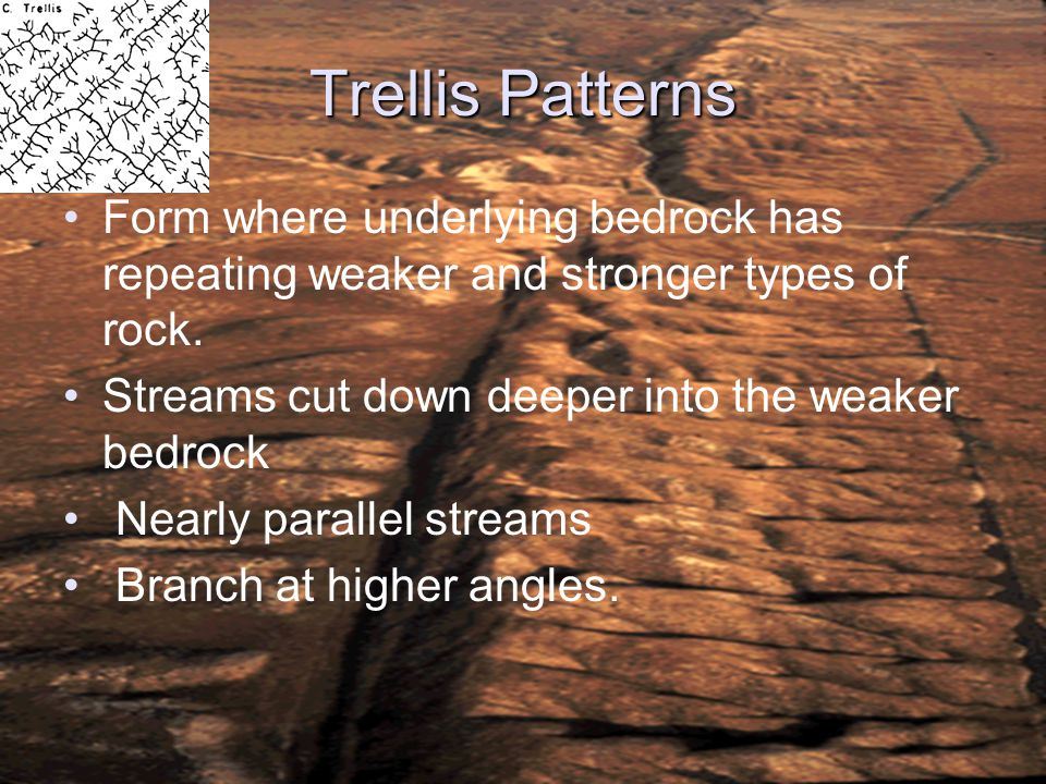 ESCI 307, Fall 2003, Lecture 3 Trellis Patterns. Form where underlying bedrock has repeating weaker and stronger types of rock.