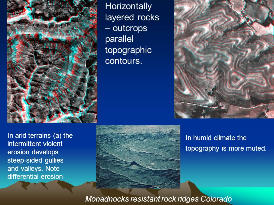 Horizontally layered rocks – outcrops parallel topographic contours.