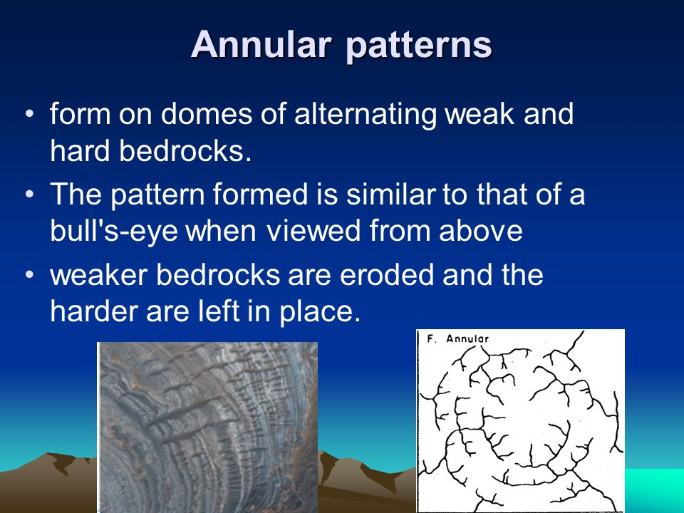 Annular patterns form on domes of alternating weak and hard bedrocks.