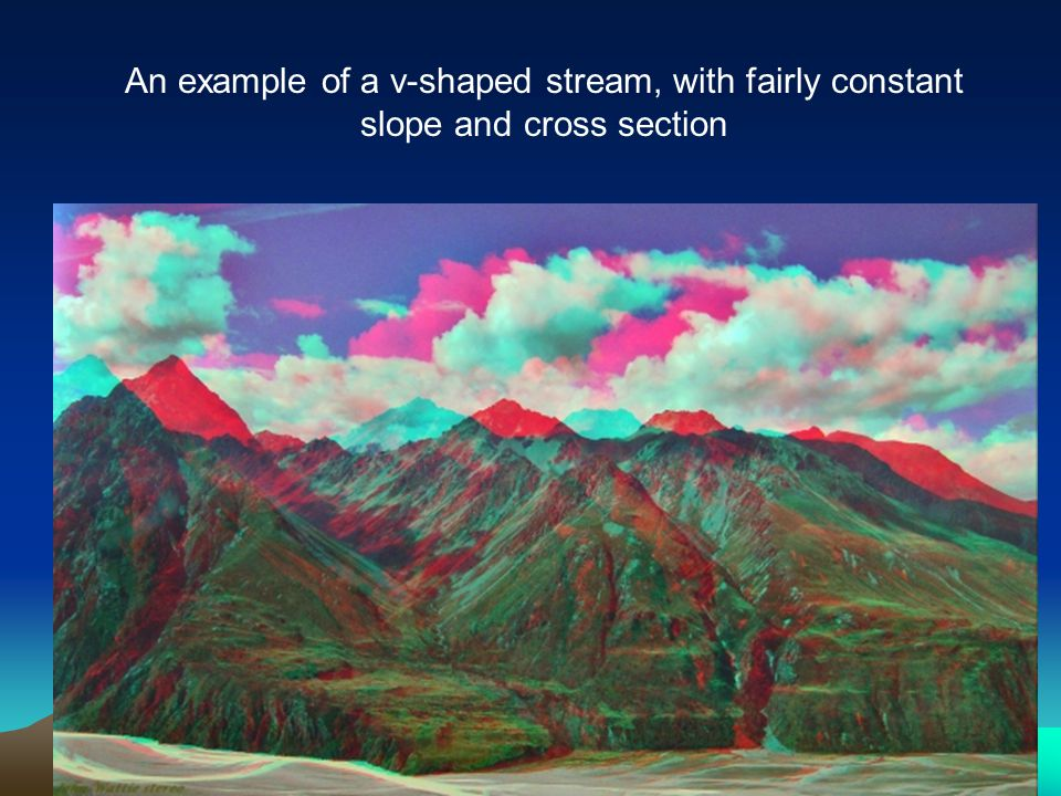 An example of a v-shaped stream, with fairly constant slope and cross section